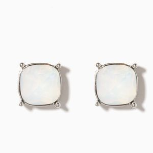 White and Silver Large Stud Earrings